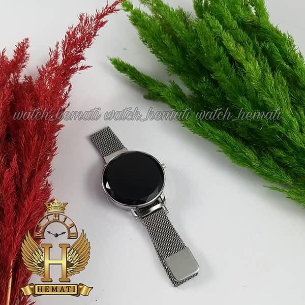 ساعت ال ای دی زنانه قفل مگنتی مدل دایره ای دکمه ای رنگ نقره ای