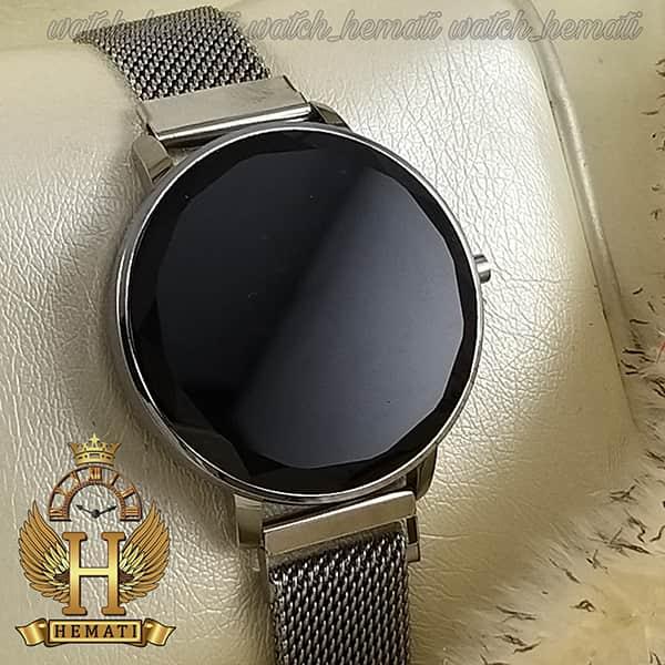 خرید ساعت ال ای دی زنانه قفل مگنتی مدل دایره ای دکمه ای رنگ نقره ای