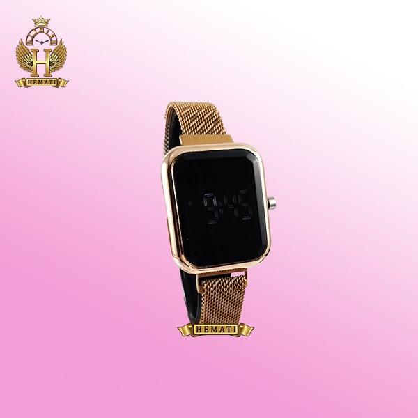 قیمت ساعت ال ای دی زنانه قفل مگنتی مدل مستطیل دکمه ای رنگ رزگلد
