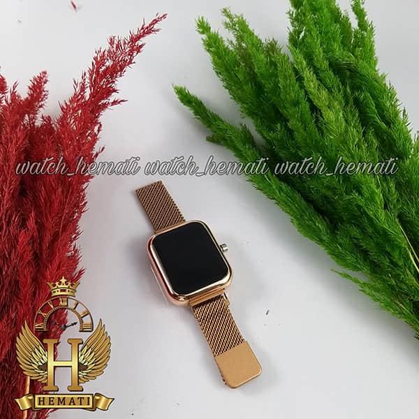 ساعت ال ای دی زنانه قفل مگنتی مدل مستطیل دکمه ای رنگ رزگلد
