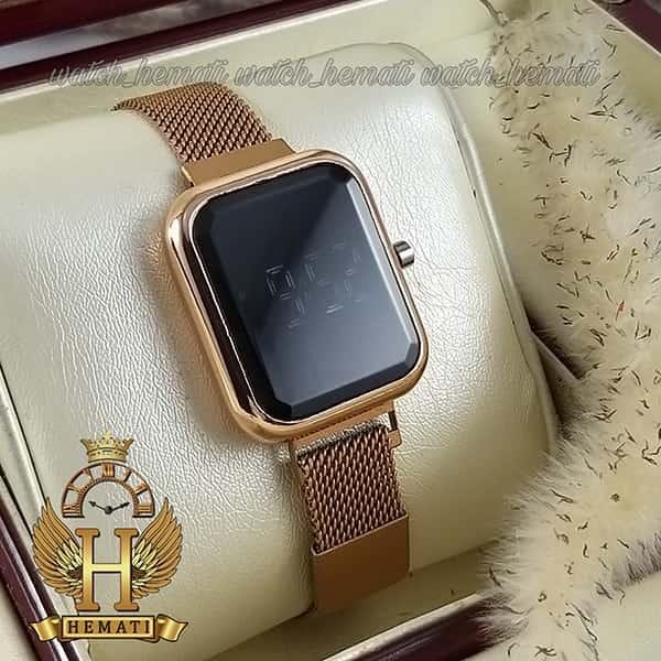 خرید ساعت ال ای دی زنانه قفل مگنتی مدل مستطیل دکمه ای رنگ رزگلد