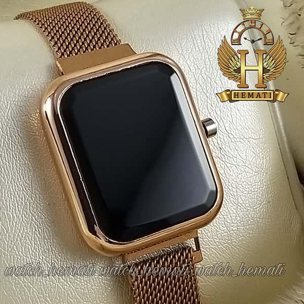 خرید اینترنتی ساعت ال ای دی زنانه قفل مگنتی مدل مستطیل دکمه ای رنگ رزگلد