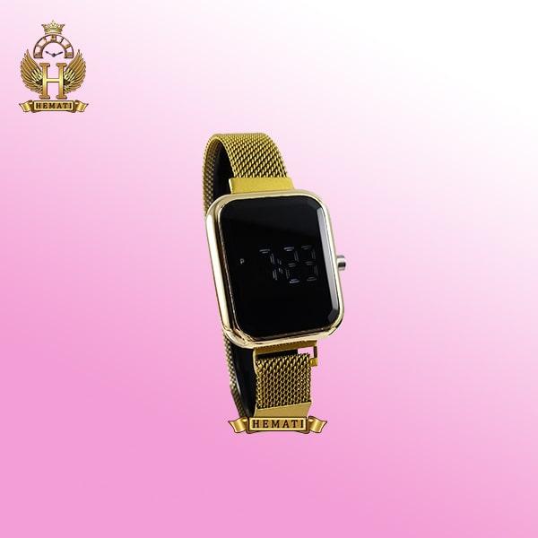 ساعت ال ای دی زنانه قفل مگنتی مدل مستطیل دکمه ای رنگ طلایی