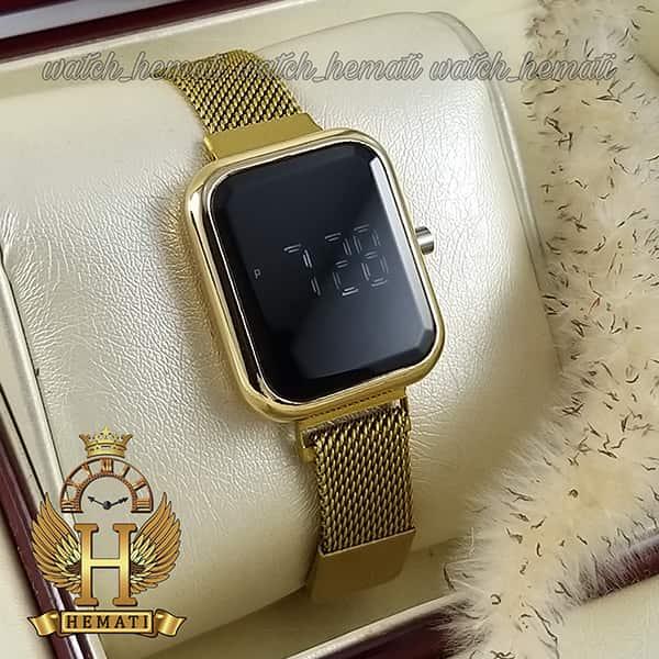 خرید انلاین ساعت ال ای دی زنانه قفل مگنتی مدل مستطیل دکمه ای رنگ طلایی