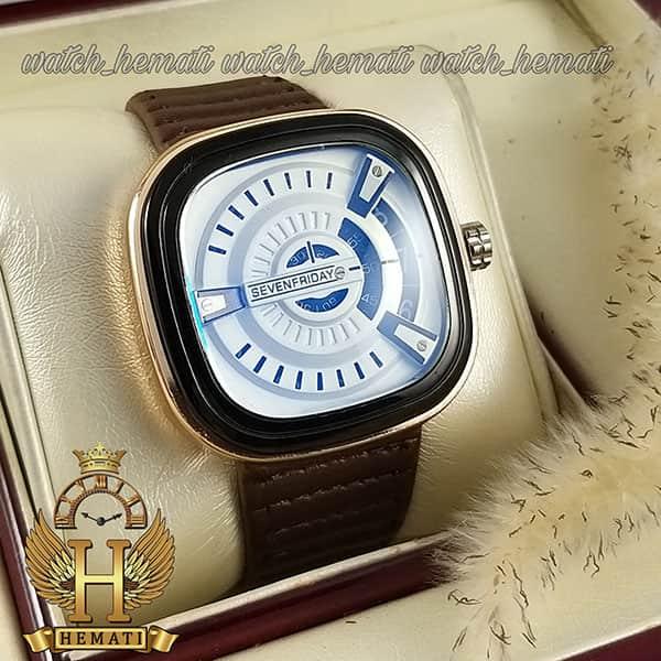 ساعت مردانه سون فرایدی های کپی ارزان قیمت SF-P2/01-A0127 قاب مشکی-رزگلد بند قهوه ای چرمی