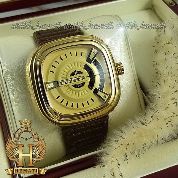خرید ساعت مردانه سون فرایدی SF-P2/01-A0127 قاب طلایی بند چرم قهوه ای