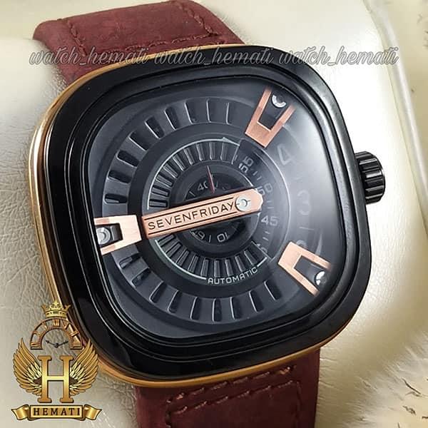 خرید انلاین ساعت مردانه سون فرایدی های کپی ارزان قیمت مدل SA-D2/01-M1409 مشکی-رزگلدبا بند چرم زرشکی