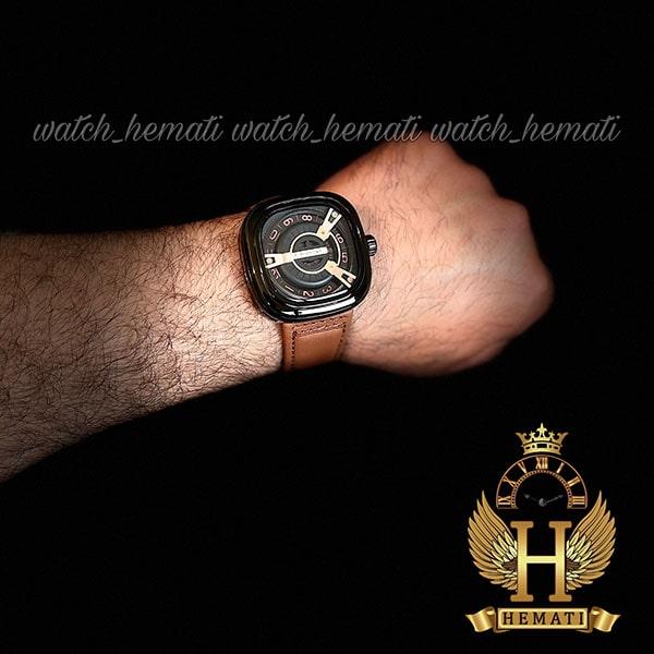 خرید انلاین ساعت سون فرایدی مردانه های کپی ارزان قیمت مدل SA-D2/01-M1409 قاب مشکی بند چرم عسلی