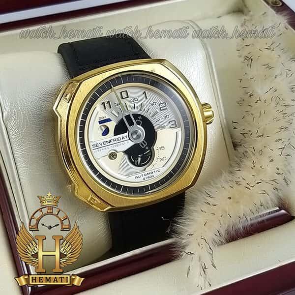 قیمت ساعت مردانه سون فرایدی های کپی ارزان قیمت مدلSF-V3/01-A0007 قاب طلایی و بند چرم مشکی