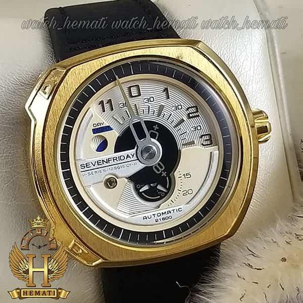 خرید انلاین ساعت مردانه سون فرایدی های کپی ارزان قیمت مدلSF-V3/01-A0007 قاب طلایی و بند چرم مشکی