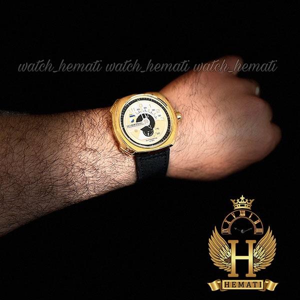 خرید اینترنتی ساعت مردانه سون فرایدی های کپی ارزان قیمت مدلSF-V3/01-A0007 قاب طلایی و بند چرم مشکی