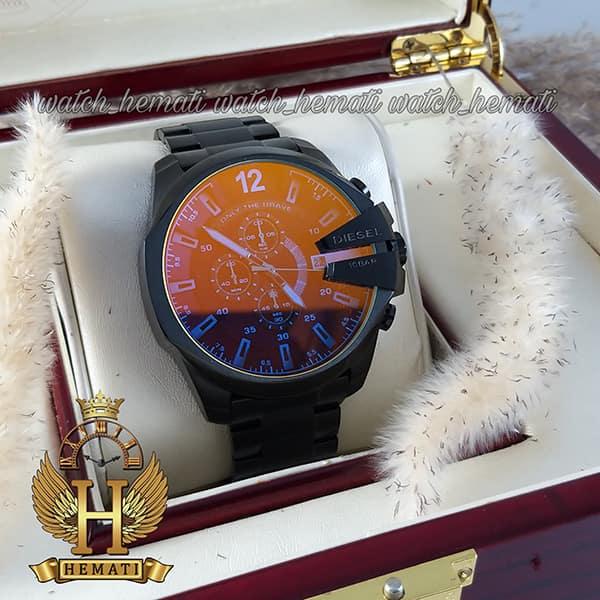 خرید ساعت دیزل شاخدار مدل diesel dz-4308 به رنگ مشکی و شیشه آبی