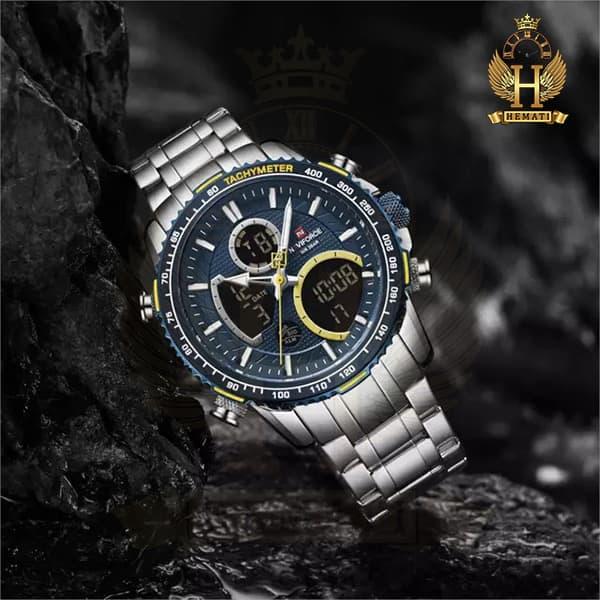 ساعت مردانه دو زمانه نیوی فورس مدل naviforce nf9182m نقره ای آبی