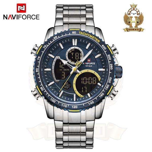 خرید ساعت مردانه دو زمانه نیوی فورس مدل naviforce nf9182m نقره ای آبی