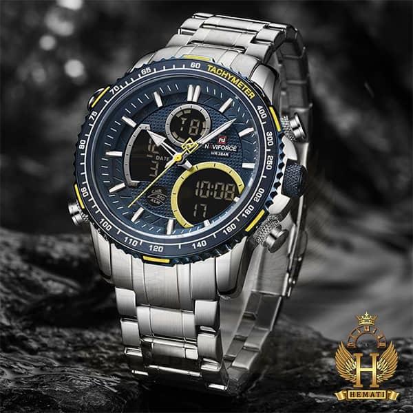 نمایندگی ساعت مردانه دو زمانه نیوی فورس مدل naviforce nf9182m نقره ای آبی
