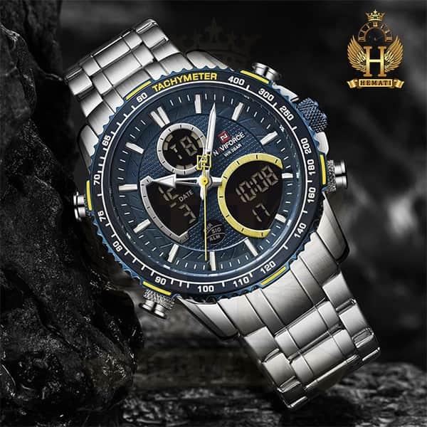 خرید اینترنتی ساعت مردانه دو زمانه نیوی فورس مدل naviforce nf9182m نقره ای آبی