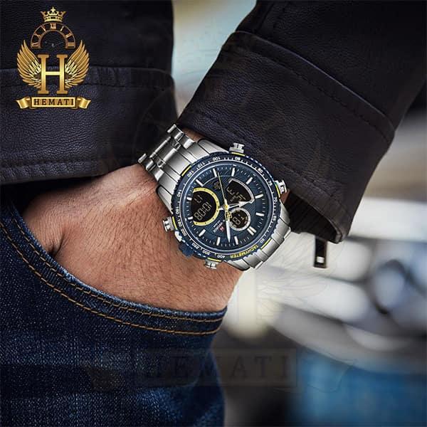 خرید انلاین ساعت مردانه دو زمانه نیوی فورس مدل naviforce nf9182m نقره ای آبی