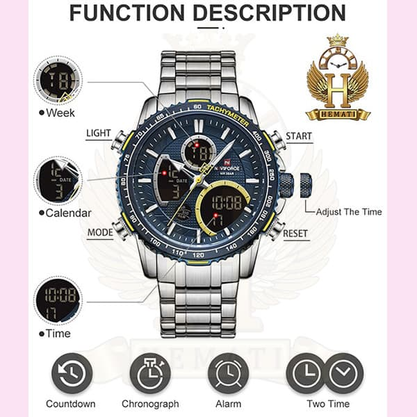 ساعت مچی مردانه دو زمانه نیوی فورس مدل naviforce nf9182m نقره ای آبی