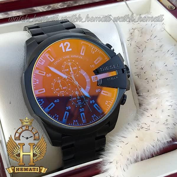 عکس ساعت مردانه دیزل شاخدار مدل DIESEL DZ4308L تمام مشکی با شیشه هفت رنگ