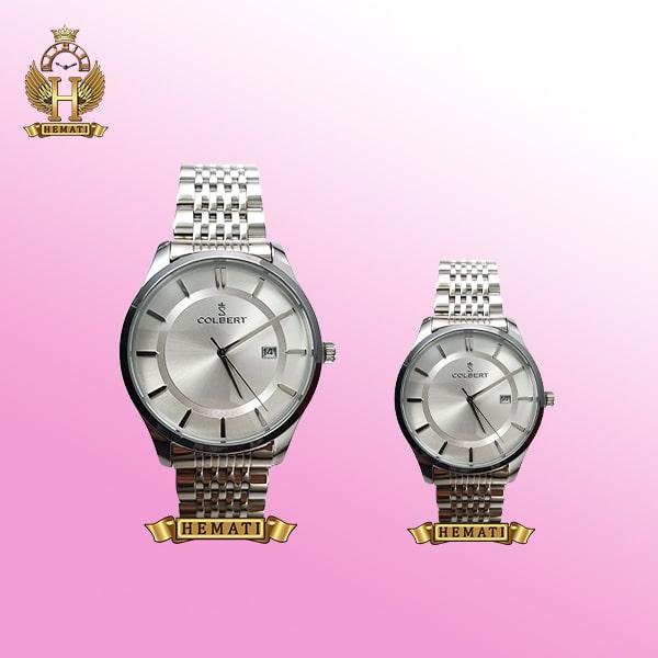 خرید ساعتمچی COLBERT 0204M-L ساعت ست زنانه و مردانه کلبرت اورجینال تمام نقره ای با صفحه نقره ای و سرمه ای