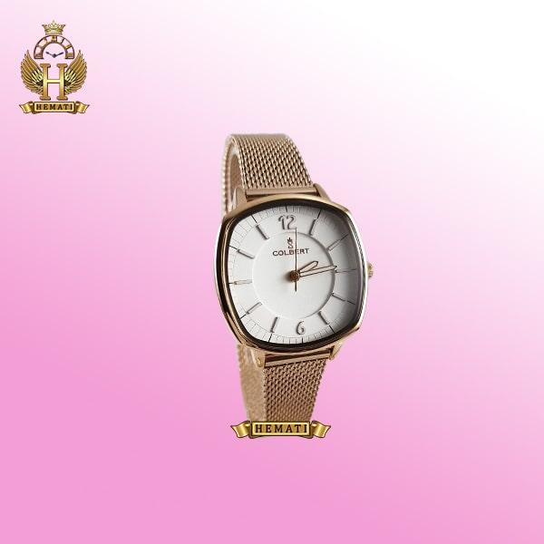 خرید COLBERT 0213L ساعت زنانه کلبرت ،رنگ رزگلد، صفحه مربع ،قاب و بند رزگلد، بند حصیری، همراه گارانتی و جعبه و پاکت شرکتی
