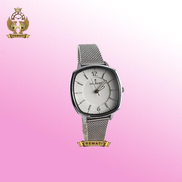 خرید COLBERT 0213L ساعت زنانه کلبرت ،رنگ رزگلد، صفحه مربع ،قاب و بند نقره ای، بند حصیری، همراه گارانتی و جعبه و پاکت شرکتی