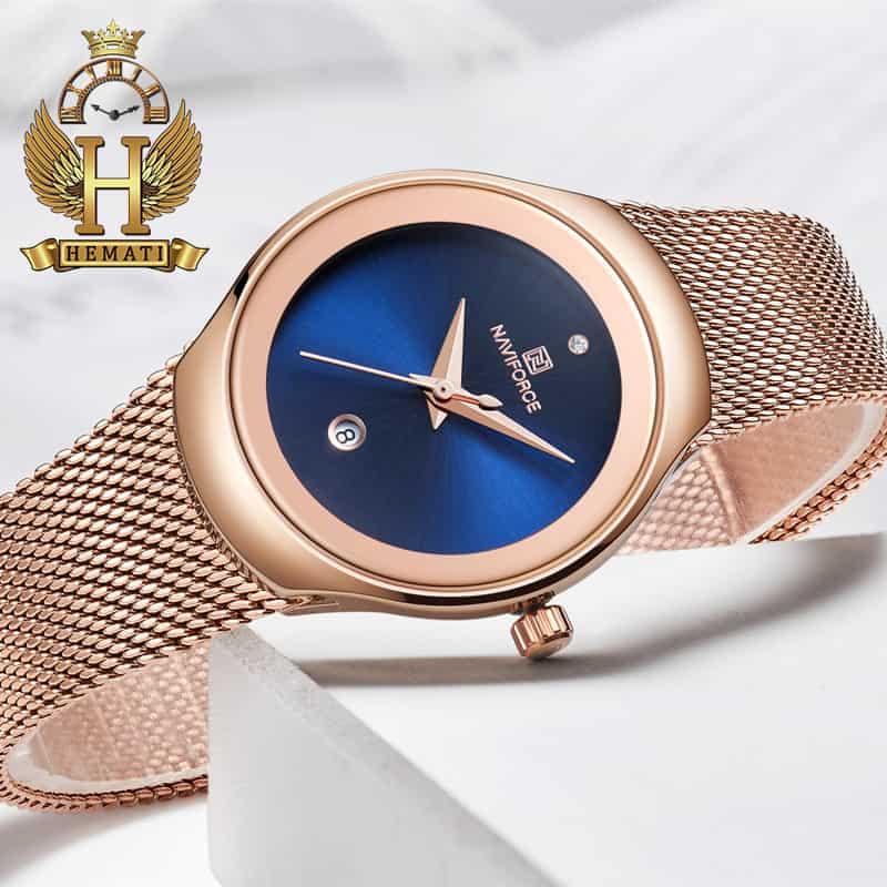 مشخصات ساعت مچی زنانه نیوی فورس مدل nf5004l رزگلد با صفحه سرمه ای