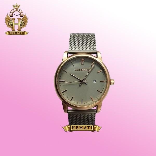 خرید colbert 0215m ساعت مردانه کلبرت اورجینال بند حصیری ، تقویم دارد ،به رنگ طوسی رزگلد