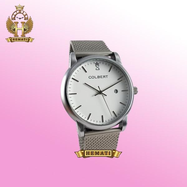 خرید colbert 0215m ساعت مردانه کلبرت اورجینال بند حصیری ، تقویم دارد ،به رنگ نقره ای
