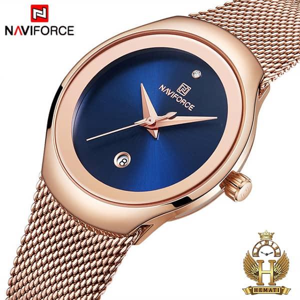 قیمت ساعت زنانه نیوی فورس مدل nf5004l رزگلد با صفحه سرمه ای