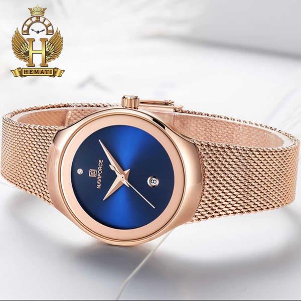 مشخصات ساعت زنانه نیوی فورس مدل nf5004l رزگلد با صفحه سرمه ای