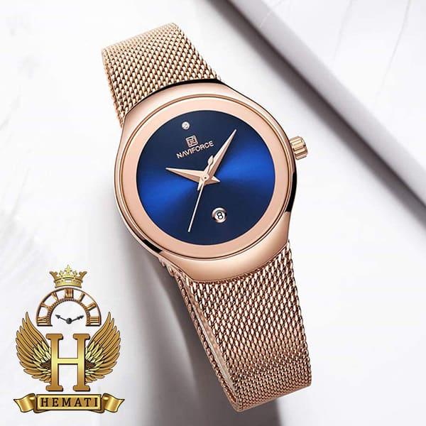 خرید ساعت مچی زنانه نیوی فورس مدل nf5004l رزگلد با صفحه سرمه ای