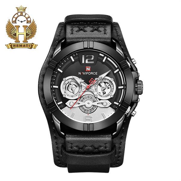 ساعت مردانه نیوی فورس مدل naviforce nf9162m قاب مشکی با بند چرم مشکی طرح ساعت پورشه دیزاین