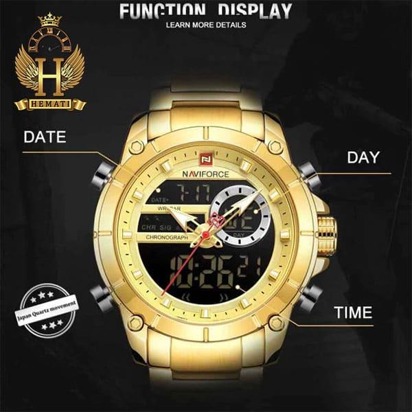 خرید ساعت مردانه نیوی فورس دو زمانه مدل naviforce nf9163m قاب و بند طلایی