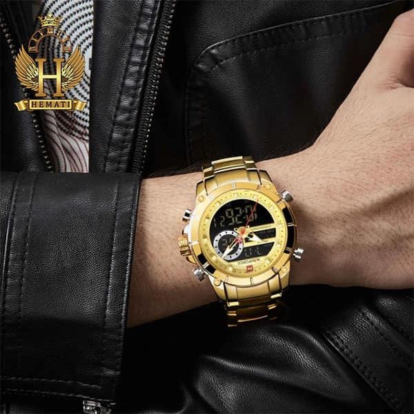 نمایندگی فروش ساعت مردانه نیوی فورس دو زمانه مدل naviforce nf9163m قاب و بند طلایی