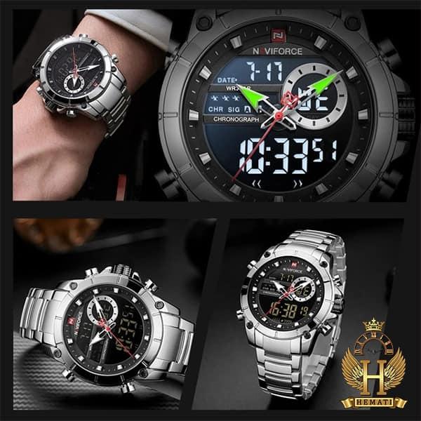 خرید انلاین ساعت مردانه نیوی فورس دو زمانه مدل naviforce nf9163m نقره ای