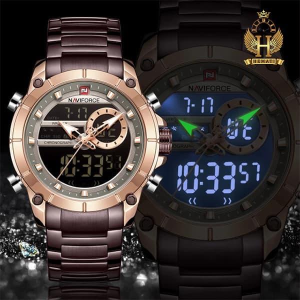 خرید انلاین ساعت مردانه نیوی فورس دو زمانه مدل naviforce nf9163m رزگلد کافی