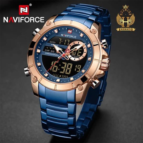 نمایندگی فروش ساعت مردانه نیوی فورس دو زمانه مدل naviforce nf9163m قاب رزگلد با بند سرمه ای
