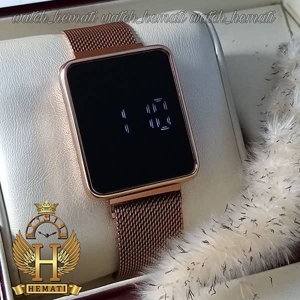مشخصات ساعت ال ای دی اسپرت led104 (بند مگنتی) قاب مستطیل رنگ رزگلد