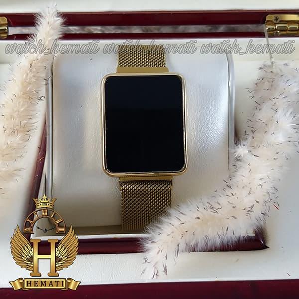 خرید ارزان ساعت ال ای دی اسپرت led105 (بند مگنتی) قاب مستطیل و رنگ طلایی
