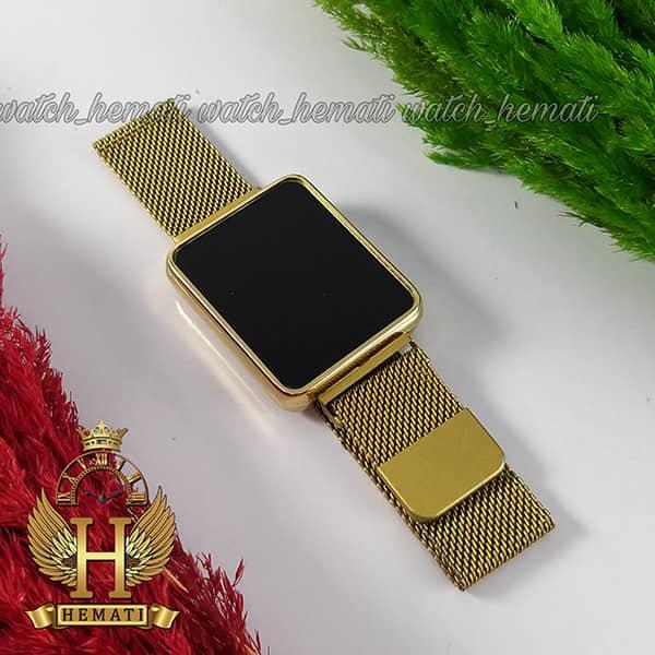خرید ، قیمت ، مشخصات ساعت ال ای دی اسپرت led105 (بند مگنتی) قاب مستطیل و رنگ طلایی