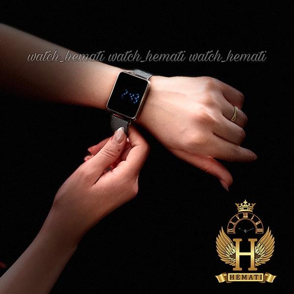 خرید ارزان ساعت ال ای دی اسپرت led107 (بند مگنتی) قاب مستطیل و رنگ نقره ای