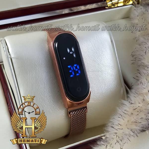 خرید ارزان ساعت ال ای دی تاچ بند مگنتی طرح شیائومی رنگ رزگلد