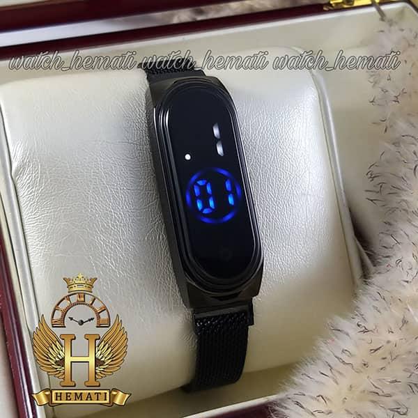 خرید انلاین ساعت ال ای دی طرح شیائومی تاچ و بند مگنتی رنگ مشکی