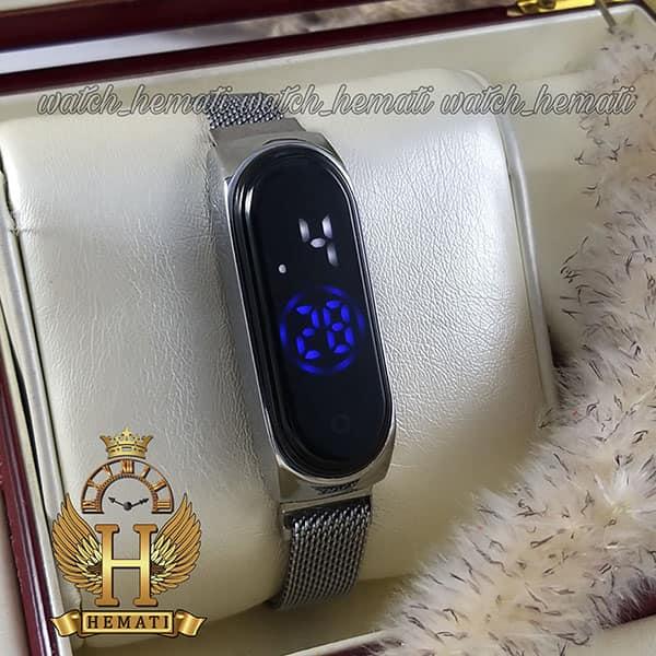 خرید انلاین ساعت ال ای دی طرح شیائومی تاچ و بند مگنتی رنگ نقره ای