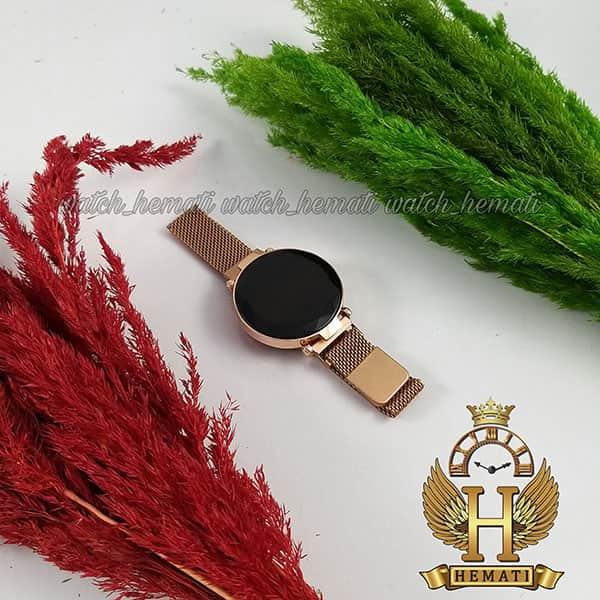 خرید انلاین ساعت ال ای دی زنانه بند مگنتی صفحه دایره ای و تاچ رنگ رزگلد