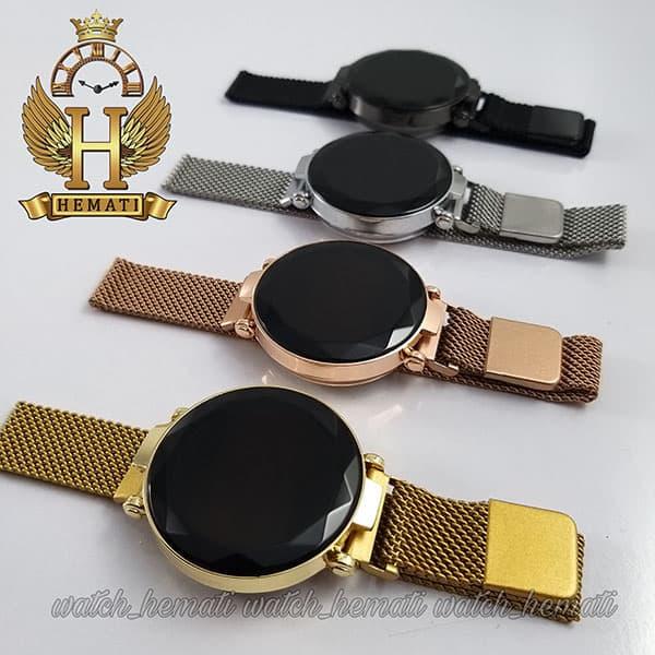 خرید ، قیمت ، مشخصات ساعت مچی ال ای دی زنانه بند مگنتی صفحه دایره ای و تاچ در رنگبندی مشکی ، طلایی ، نقره ای ، رزگلد