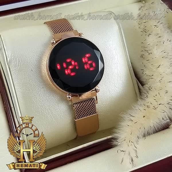 خرید ، قیمت ، مشخصات ساعت ال ای دی زنانه بند مگنتی صفحه دایره ای و تاچ رنگ رزگلد