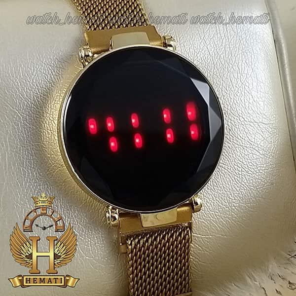 خرید انلاین ساعت ال ای دی زنانه بند مگنتی صفحه دایره ای و تاچ رنگ طلایی