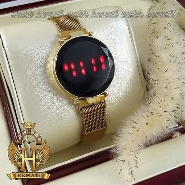 خرید ، قیمت ، مشخصات ساعت ال ای دی زنانه بند مگنتی صفحه دایره ای و تاچ رنگ طلایی